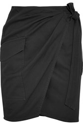 Etoile Isabel Marant Olga Cotton Twill Wrap Mini Skirt Black