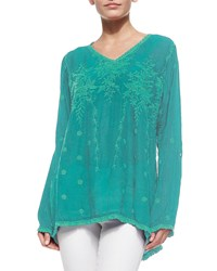 Johnny Was Vine Embroidered Georgette Tunic Plus Size Teal Green