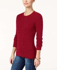 Charter Club Petite Cable Knit Sweater Only At Macy's New Red Amore