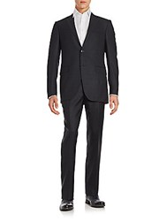 Ermenegildo Zegna Check Pattern Modern Suit Dark Grey