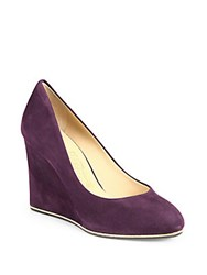 Salvatore Ferragamo Fiamma Suede Wedge Pumps Plum