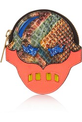 Stella Mccartney Superstellaheroes Snake Effect Faux Leather Coin Wallet Orange