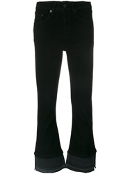 Rag And Bone Flared Cropped Trousers Women Cotton Polyurethane 27 Black
