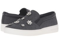 Michael Michael Kors Keaton Slip On Charcoal Flannel Nappa Brooches Women's Slip On Shoes Blue