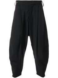 Odeur Pleated Detail Dropped Crotch Trousers Black