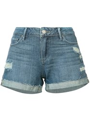 Paige Distressed Denim Shorts Women Cotton Rayon 24 Blue