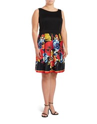 Gabby Skye Plus Boatneck Sleeveless Dress Black Poppy