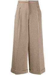 Tela Check Print Trousers Brown