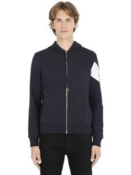 Moncler Gamme Bleu Hooded Zip Up Cotton Sweatshirt