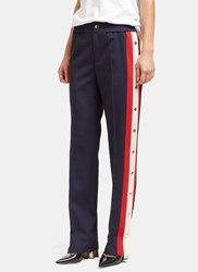 Gucci Fine Drill Silk Pants With Side Poppers Navy