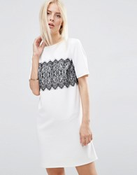 Asos Shift Dress With Lace Panel Detail Ivory Black Cream