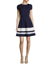 Design Lab Lord And Taylor Striped Fit Flare Dress Navy