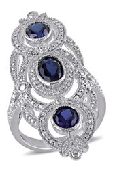 Sterling Silver Pave Diamond And Faceted Created Blue Sapphire Ring