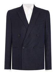 Paul Smith Double Breasted Textured Wool Blazer Navy