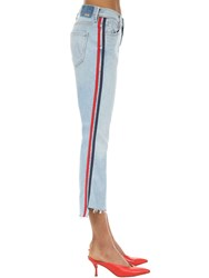 Mother The Insider Cropped Cotton Denim Jeans Blue Multi
