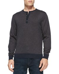 China Union Fine Stripe Cashmere Henley Sweater Navy Med Brown