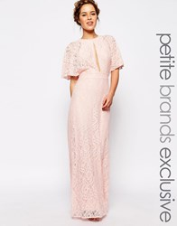 John Zack Petite All Over Lace Maxi Dress With Keyhole Front And Open Back Detail Pink