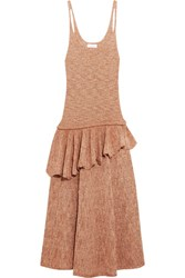 Christophe Lemaire Ruffled Knitted Midi Dress Blush