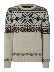 Army And Navy Conifer Crew Neck Jumper Oatmeal
