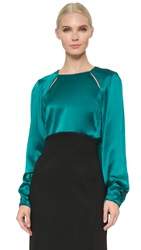 Zac Posen Long Sleeve Blouse Harbor Blue