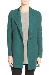 Women's Eileen Fisher Asymmetrical Boiled Merino Wool Jacket Evergreen