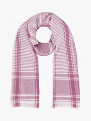 Brora Cashmere Houndstooth Check Stole Scarf Rose