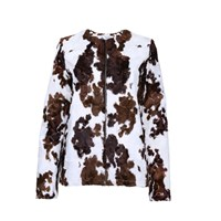 The Bee's Sneeze Faux Cowskin Zip Jacket White Brown