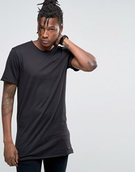 Only And Sons Longline Raw Edge T Shirt Black