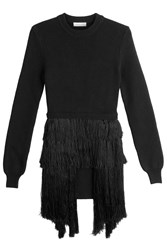 Thierry Mugler Merino Wool Pullover With Fringing Black