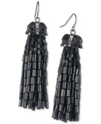 Carolee Hematite Tone Tassel Drop Earrings Black