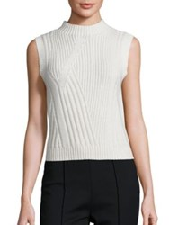 Diane Von Furstenberg Ediva Wool And Cashmere Rib Knit Sweater Ivory