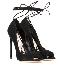 Miu Miu Suede Lace Up Sandals Black