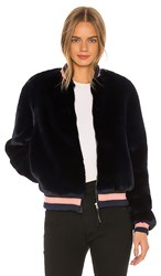 Mother The Letterman Faux Fur Jacket In Navy. A Girl Named Blue