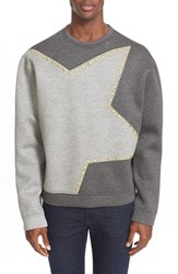 Men's Versace Collection Colorblock Star Studded Neoprene Sweatshirt