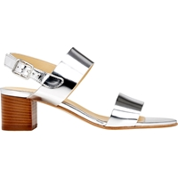 Barneys New York Double Band Slingback Sandals Silver