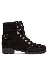 Christian Louboutin Who Runs Glitter Suede Hiking Boots Black
