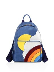 Anya Hindmarch Mini Cloud Suede Leather Calf Hair And Snakeskin Backpack Blue Multi
