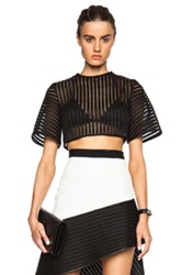David Koma Bell Sleeve Structured Crop Top In Black