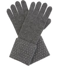 William Sharp Swarovski Cuff Cashmere Gloves Dark Grey