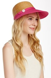 Flora Bella Haley Braided Raffia Canvas Ball Cap Pink