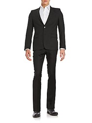 Versace Regular Fit Wool Blend Suit Dark Charcoal