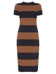 Max Mara Addi Dress Brown Navy