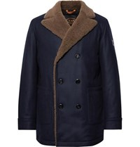 Tod's Double Breasted Shearling Trimmed Wool And Cashmere Blend Peacoat Navy