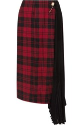 Mother Of Pearl Marita Asymmetric Checked Wool And Pleated Chiffon Skirt Red