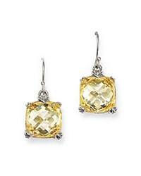 Judith Ripka Sterling Silver Fontaine Cushion Drop Earrings With Canary Crystal Yellow Silver
