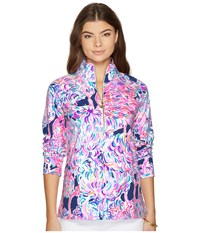 Lilly Pulitzer Upf 50 Skipper Printed Popover Pelican Pink Head In The Sand Long Sleeve Pullover Multi