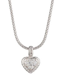 John Hardy Classic Chain White Sapphire Heart Pendant Necklace