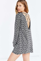 Ecote Strappy Back Frock Dress Black And White