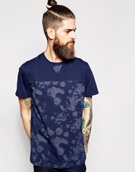 Timberland T Shirt With Floral Print Navy