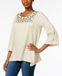 Style And Co Embroidered Handkerchief Hem Top Only At Macy's Pearl Folk Multi